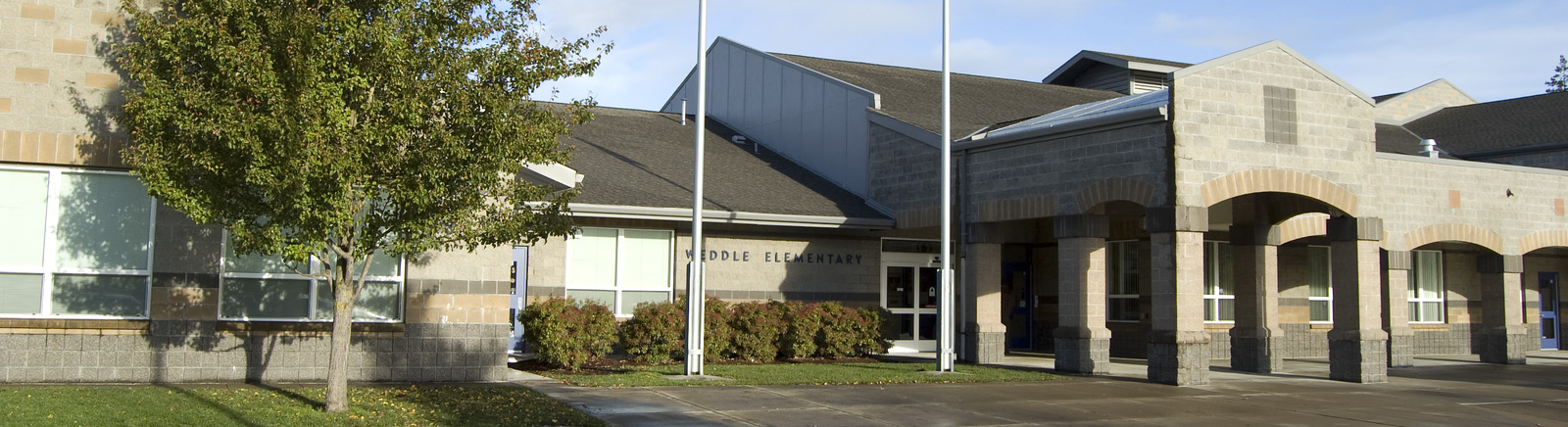 front, exterior entrance of Weddle Elementary building