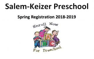 Salem-Keizer Preschool Spring Registration 2018-2019; below Enroll Now, kids on alphabet blocks, For Preschool