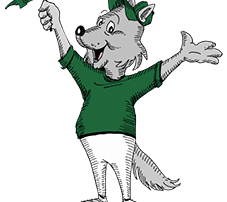Wolfie mascot holding flag and hands up