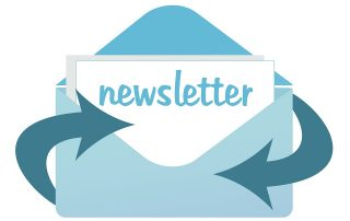 Newsletter shown inside of envelope with arrows circling